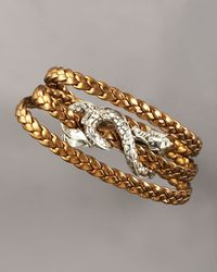 John Hardy - Metallic Triple-wrap Leather Naga Bracelet - Lyst