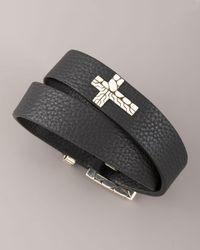 John Hardy | Black Double-wrap Leather Bracelet for Men | Lyst