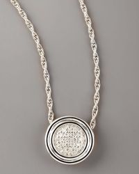 John Hardy Metallic Pave Diamond Pendant Necklace, Silver