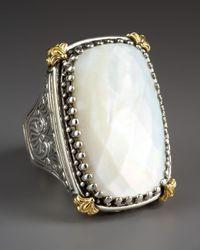 Konstantino | White Rectangular Mother Of Pearl Selene Ring | Lyst