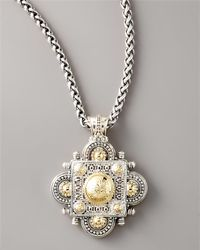 Konstantino - Metallic Silver Gold Clover Pendant - Lyst