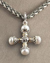 Konstantino | Metallic Pearl Maltese Cross Pendant | Lyst