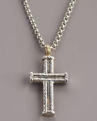 Konstantino Metallic Hammered Rope Cross Pendant for men