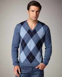 Lacoste | Blue Argyle Sweater for Men | Lyst