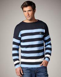 Lacoste | Blue Bar-stripe Sweater for Men | Lyst