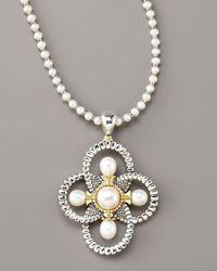 Lagos | White Luna Pearl Quatrefoil Pendant Necklace | Lyst