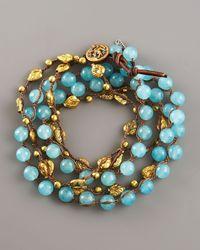 Love Heals   Blue Aqua Jade & Bronze Wrap Bracelet   Lyst