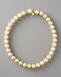 Majorica | Metallic Champagne Pearl Necklace | Lyst