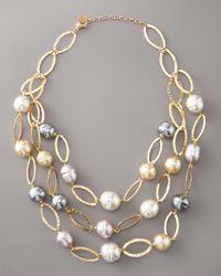Majorica | White Multi-strand Baroque Pearl Necklace | Lyst