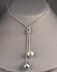 Majorica   Metallic Pearl Lariat Necklace   Lyst