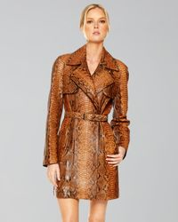 Michael Kors Brown Painted Python Belted Trench