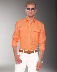 Michael Kors Orange Linen Contrast Topstitch Shirt for men