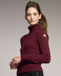 Moncler Purple Wool-cashmere Turtleneck, Berry