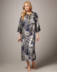 Oscar de la Renta | Blue Twilight Garden Silk Nightgown | Lyst