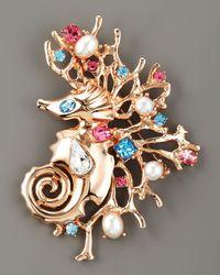 Oscar de la Renta - Multicolor Sea Horse Pin - Lyst