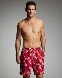 Peter Millar | Red Coral-print Swim Trunks for Men | Lyst