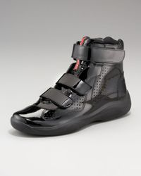 Prada | Black Patent Hi-top Sneaker for Men | Lyst
