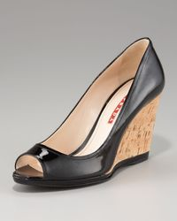 Prada - Black Peep-Toe Wedge Pump - Lyst