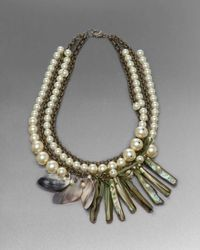 St. John - Metallic Shell Statement Necklace - Lyst