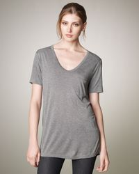 T By Alexander Wang V-neck Pocket Tee, Heather Gray