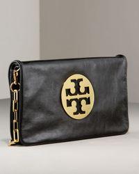 Tory Burch | Black Reva Glazed Leather Clutch Bag | Lyst