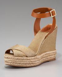Tory Burch | Brown Metallic Crisscross Espadrille Sandal | Lyst