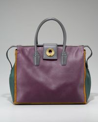 Saint Laurent - Purple Cabas Muse Two Textured-leather Tote - Lyst