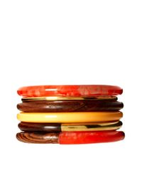 French Connection - Brown French Connection Five Pack Bangles Set - Lyst