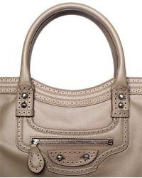 Balenciaga Natural Riva City Perforated Leather Bag