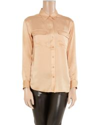 Equipment - Pink Signature Silk-satin Shirt - Lyst