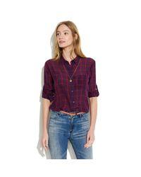 Madewell Purple Silk Graph Paper Boyshirt