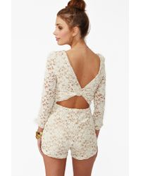Nasty Gal Natural Lace Cut Out Romper
