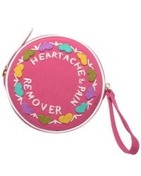 Olympia Le-Tan Pink Heartache and Pain Remover Handmade Wristlet Bag