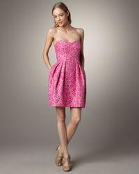 Shoshanna | Pink Meghan Strapless Jacquard Dress | Lyst