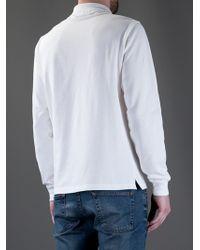 Stone Island White Long Sleeve Polo Shirt for men