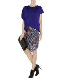 Zero + Maria Cornejo Blue Cruza Printed Stretch Silk Skirt