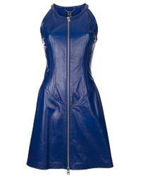 Alexander McQueen Blue Leather Dress