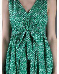 See By Chloé Green Printed V-neck Sleeveless Dress