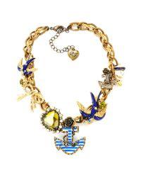 Betsey Johnson Metallic Nautical Theme Frontal Necklace