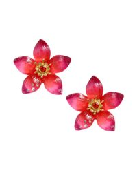 Betsey Johnson | Pink Gold Tone Large Flower Stud Earrings | Lyst