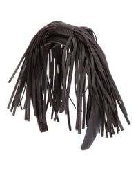 Borsalino Brown Tassel Leather Head Band