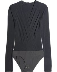 Donna Karan | Black Fine-jersey Bodysuit | Lyst