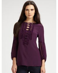 Nanette Lepore | Purple Ingenue Silk Blouse | Lyst