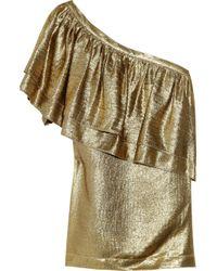 Tory Burch | Metallic One-shoulder Silk-blend Lamé Top | Lyst