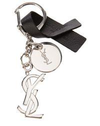 Saint Laurent Black Nickel Key Chain for men
