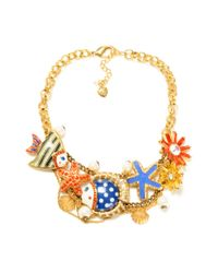 Betsey Johnson - Metallic Gold Tone Fish Multi Charm Frontal Statement Necklace - Lyst