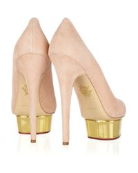 Charlotte Olympia Metallic Dolly Suede Platform Pumps