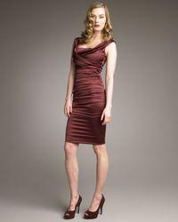 Dolce & Gabbana | Brown Ruched Satin Dress | Lyst