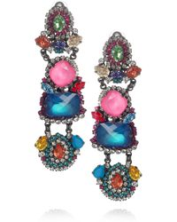 Erickson Beamon - Metallic Modern Mughal Gunmetalplated Swarovski Crystal Clip Earrings - Lyst