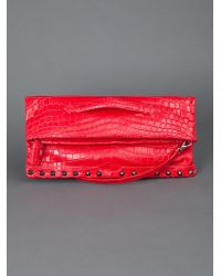 Ethan K Red Olga with Studs Clutch